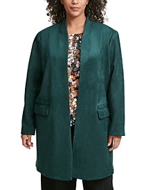 Plus Size Open-Front Faux-Suede Topper Jacket