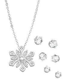 Fine Silver Plated Cubic Zirconia Snowflake Pendant and Three Piece Earring Set