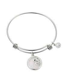Snoopy Present Shaker Bangle Silver Plated Charms