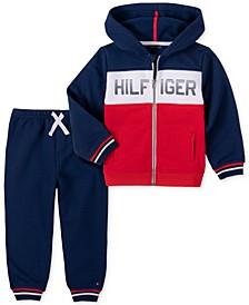 Baby Boys Zip Front Hooded Fleece Jacket Pant Set