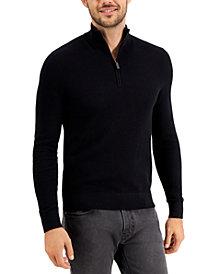 Michael Kors Men's Regular-Fit Textured Stitch 1/4-Zip Sweater, Created for Macy's