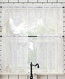"Alison Floral Lace Rod Pocket Kitchen Curtain Valance And Tiers Set, 58"" x 36"""