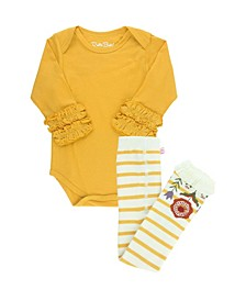 Baby Girls Bodysuit and Stripe Tight Set