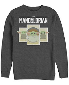 Men's Star Wars Mandalorian Child Boxes Crew Fleece Pullover T-shirt