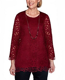 Women's Plus Size Madison Avenue Solid Lace Top with Necklace