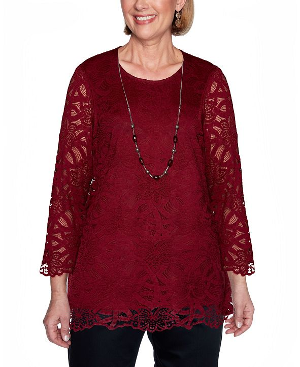 Alfred Dunner Women's Plus Size Madison Avenue Solid Lace Top with Necklace