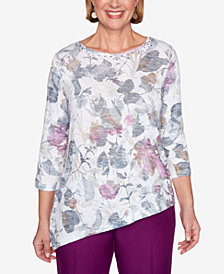 Alfred Dunner Women's Plus Size Classics Shadow Floral Knit Top
