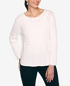 Women's Plus Size Classics Mixed Stitch Patchwork Sweater