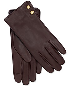Leather Button Touch Gloves