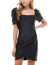 Juniors' Square-Neck Puff-Sleeve Dress