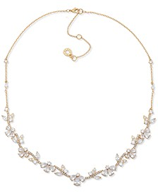 "Gold-Tone Crystal Frontal Necklace, 16"" + 3"" extender"