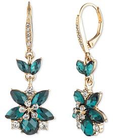 Gold-Tone Green Flower Stone Drop Earrings
