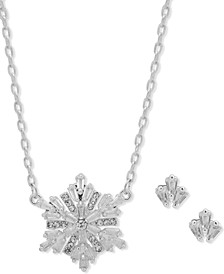 Silver-Tone Crystal Snowflake Necklace & Earring Set