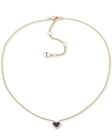 """Gold-Tone Pavé Colored Heart Pendant Necklace, 16"""" + 3"""" extender"""