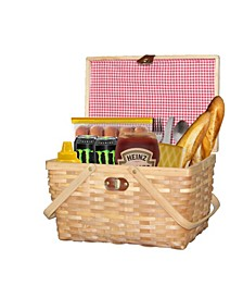 Gingham Lined Woodchip Picnic Basket With Lid and Movable Handles