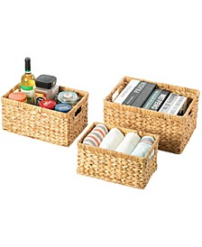 Natural Woven Water Hyacinth Wicker Rectangular Storage Bin Basket with Handles, Set of 3