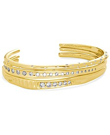 14k Gold-Plated 3-Pc. Set Cubic Zirconia Cuff Bracelets