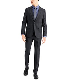 Men's Classic-Fit Charcoal Plaid Suit Separates