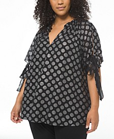 Plus Size Foiled Tie-Sleeve Ruffled-Neck Top