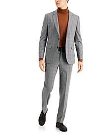 HUGO Men's Classic-Fit Silver Plaid Suit Separates