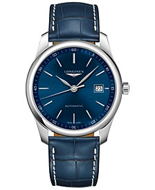 Men's Automatic Master Collection Blue Alligator Leather Strap Watch 40mm