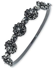 Hematite-Tone Crystal & Imitation Pearl Cluster Bangle Bracelet