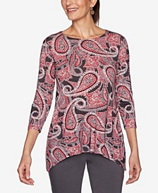 Plus Size Paisley Print Top