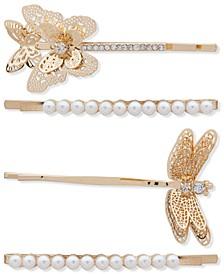 4-Pc. Gold-Tone Crystal & Imitation Pearl Winged Critter Bobby Pin Set