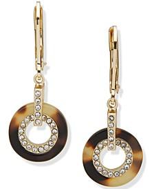 Gold-Tone Pavé & Tortoise-Look Circle Link Drop Earrings