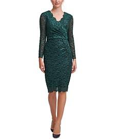Surplice Lace Sheath Dress