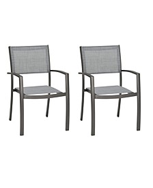 Solana Outdoor Aluminum Arm Dining Chairs - Set of 2