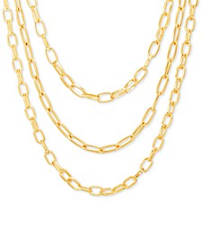"Gold-Tone Link Chain Layered Necklace, 16"" + 3"" extender"