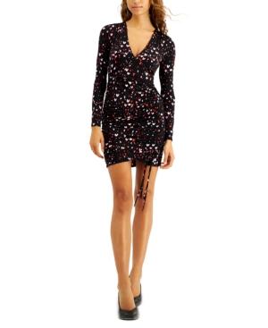 Heart-Printed Ruched-Hem Mini Dress