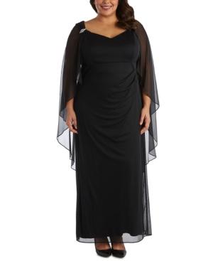 70s Sequin Dresses, Disco Dresses R  M Richards Plus Size Chiffon-Cape Gown $129.00 AT vintagedancer.com