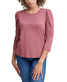 Puff-Sleeve Scoop-Neck Top