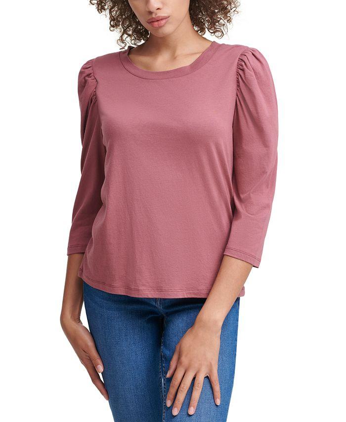 Calvin Klein Jeans - Puff-Sleeve Scoop-Neck Top