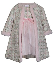 Blueberri Boulevard Baby Girls Tweed Trim Coat Set