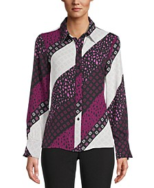 Printed Button-Down Blouse, Created for Macy's