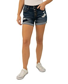 Juniors' Distressed Cuffed Denim Shorts