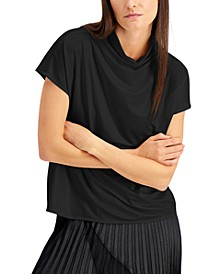Faux-Leather Mock-Neck Top, Created for Macy's