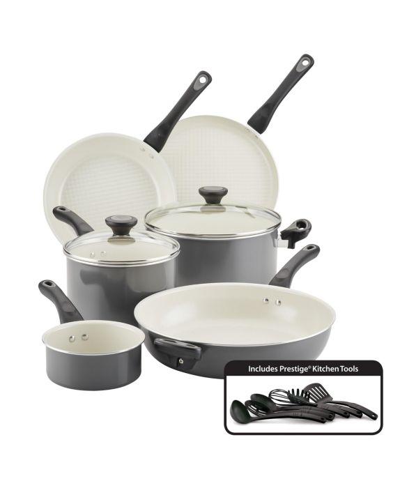 Farberware Go Healthy! Nonstick 14-Pc. Cookware Set, Gray