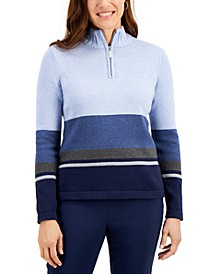 Cotton Striped Quarter-Zip Sweater, Created for Macy's