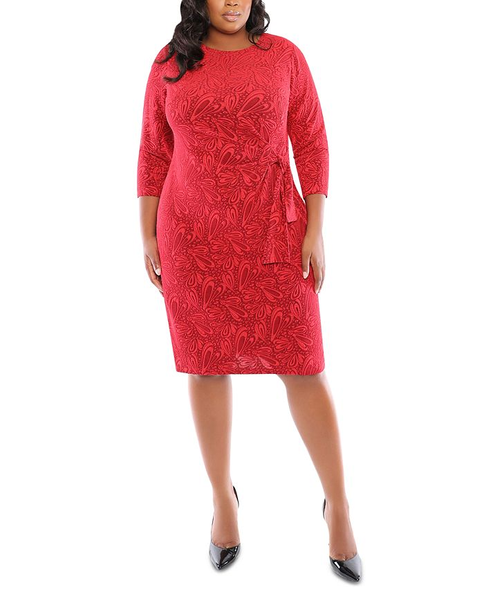 London Times - Plus Size Jacquard Side-Tie Dress