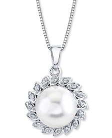 "Cultured Freshwater Pearl (10mm) & Diamond (1/8 ct. t.w.) 18"" Pendant Necklace in 10k White Gold"