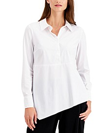 Asymmetrical-Hem Button Shirt, Created for Macy's