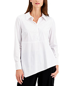 Alfani Asymmetrical-Hem Button Shirt, Created for Macy's