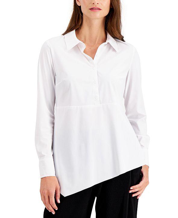 Alfani Asymmetrical-Hem Button Shirt, Created for Macy's