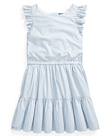 Big Girl Striped Tiered Cotton Dress