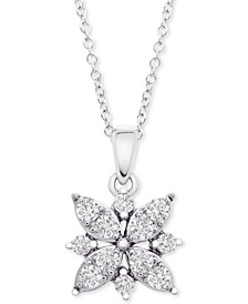 "Diamond Cluster Flower 20"" Pendant Necklace (1/2 ct. t.w.) in 14k White Gold, Created for Macy's"