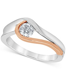 Diamond Solitaire Modern Two-Tone Ring (1/2 ct. t.w.) in 14k White Gold & Rose Gold